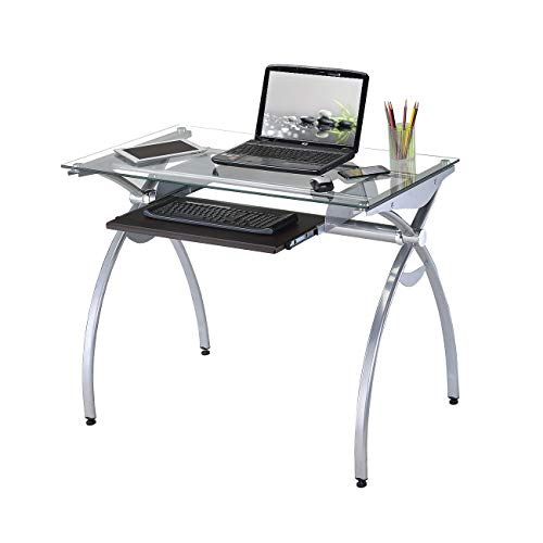 Techni Mobili Contempo Glass Top Computer Desk with Pul...